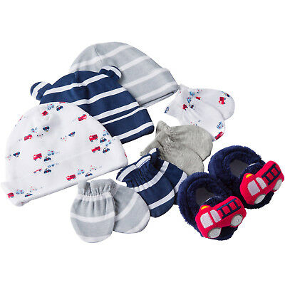 Gerber Newborn Baby Boy Caps, Mittens and Booties Accessory Set, 8-Piece