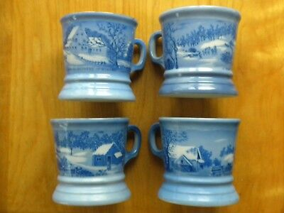 Set Of Four Currier &ives Coffee Mugs