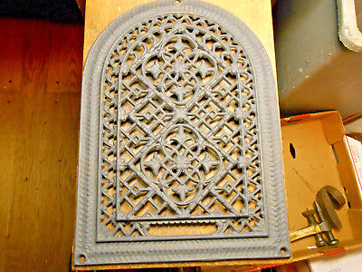 Antique Cast Iron Ornate Arch Top Wall Grate Heat  Vent  With No Louvers