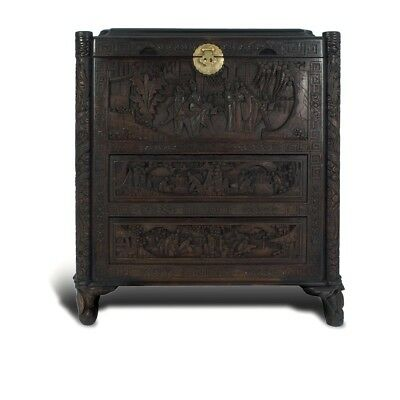 Vintage Chinese Hand Carved Camphor Chest