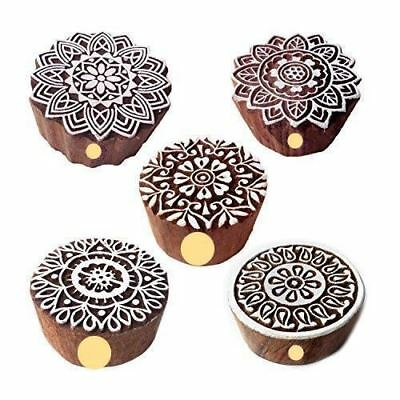 Set Of 5 Floral And Mandala Wood Stamps For Printing