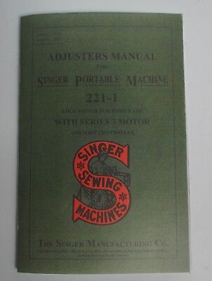 Singer Featherweight 221 Sewing Machine Dealer Adjuster's Repair Manual Booklet