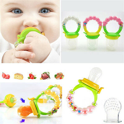 Baby Dummy Pacifier Food/Fruit Feeder,Nibbler,Weaning Teething with Rattle Ew