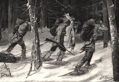 Indian trappers of the north-west. Snowshoes. Canada, antique print, 1885