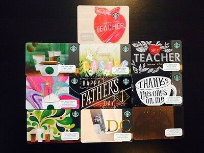 10 STARBUCKS Gift Card Lot unswiped pin attached no value collectable only.