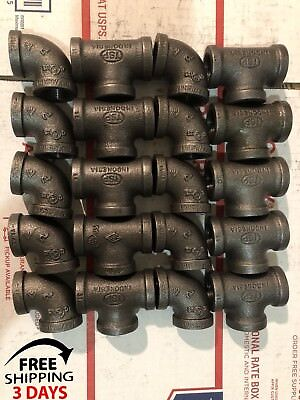 "1/2""black Malleable Iron Pipe Threaded(10) Elbows And(10) Tees,fittings Plumbing"