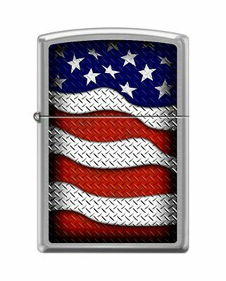 "Zippo ""USA Flag-Waving"" Brushed Chrome Finish Lighter, Full Size, 0598"
