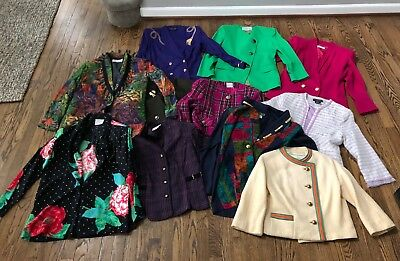 Lot of 11 Vintage Blazer Jackets Assorted Women Oleg Cassini Wool Size Small 6 8
