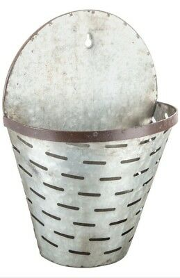 Distressed Galvanized Metal Olive Buckets Wall Hanging Bucket Letter Holder
