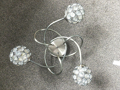 Two ( A Pair ) Of Three Arm Crystal Effect Globe Antique Bronze Light Fittings