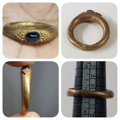 Rare Old Garnet stone Gold gilded Wonderful Ring   # L2