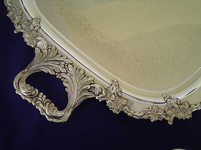 "Fine George Wilkin 28"" Silver Plated Tea Serving Tray Sheffield Grape Leaf Vine"