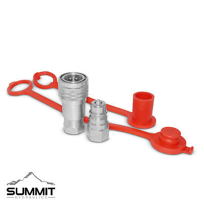 """1/4"""" Ag ISO 5675 Hydraulic Quick Connect Coupler Set, 3/8"""" SAE 9/16""""-18 ORB"""
