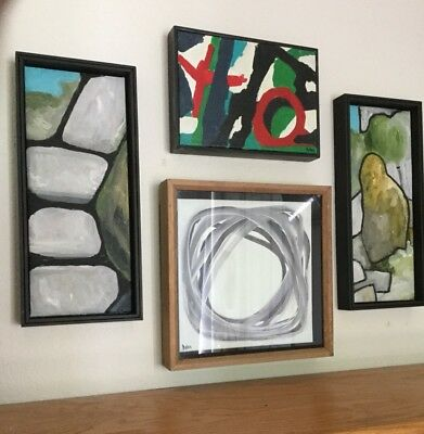 Lot Of 4 Vintage Mid Century Paintings Modernist Abstract Original Signed Dolan