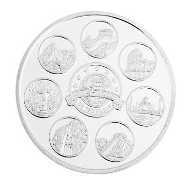 Silver Plated New Seven Wonders of the World Commemorative Coin Toy w/ Case
