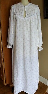 Vtg 1960's Miss Elaine floral Nightgown Housecoat cotton lightweight XL Full