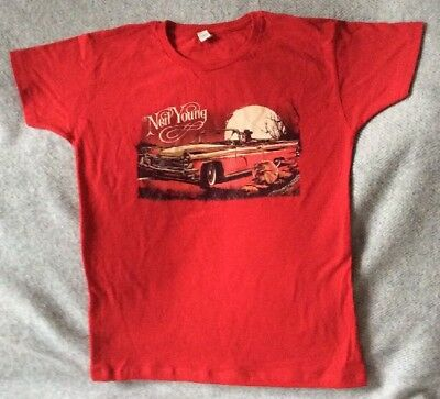 Neil Young World Tour 2000 Vintage T-Shirt New M / L Red Crosby Stills Nash