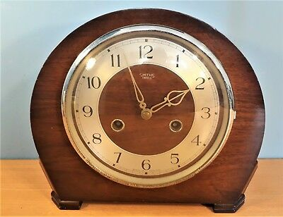 Vintage Smiths Enfield 8 Day Mantel Clock, Working order