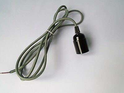 2 Metre 2 Core GREY Braided Fabric Lighting Cable / Flex Screw Bulb Fitting