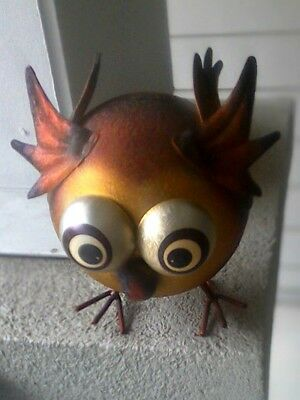 Whimsical Halloween Brass Colored Metal Owl Table Sculpture