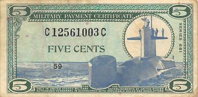USA / MPC  5  Cents  ND. 1969  M75  Series  681  Plate 59  Circulated banknote