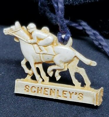 Vintage Celluloid Schenley's Cream of Kentucky Whisky Charm / Tag Horse & Rider