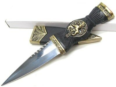 Black Bronze Handle Mini Scottish Dirk Straight Fixed Dagger Knife + Sheath