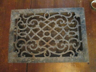 Vtg Antique Cast Iron Floor Grate Heat Register Decorative Rusted Estate