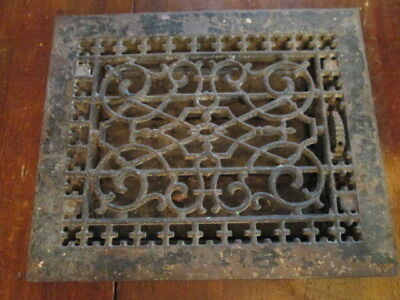 Antique 1886 Cast Iron Floor Grate Heat Register Decorative Rusted Estate