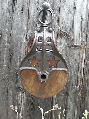 Antique Cast Iron AND WOOD BARN HAY TROLLEY ORNATE STAR PULLEY WITH RUSTIC HOOK