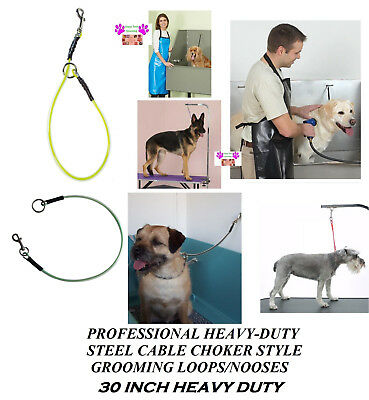 PRO Grooming HEAVY DUTY STEEL CABLE CHOKER LOOP NOOSE for Table Arm,Bath Dog Cat