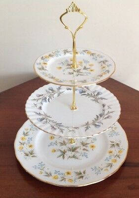 3 Tier Cake Plate Stand Vintage China Mis-matched Afternoon Tea Party Colclough & 3 TIER CAKE Plate Stand Vintage China Mis-matched Afternoon Tea ...