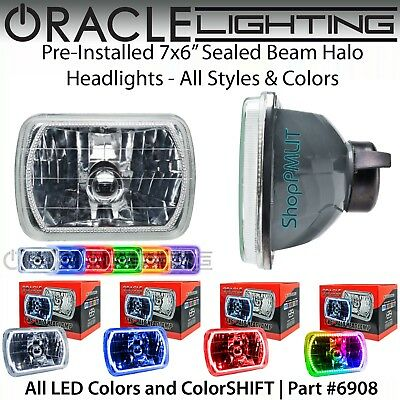 "ORACLE Pre-Installed 7x6"" Sealed Beam LED Halo Headlights - All Colors - #6908"