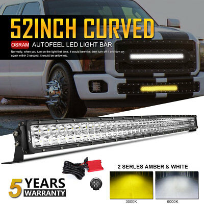 Curved 52inch 1200W LED Work Light Bar Combo Truck Offroad for SUV Boat Jeep UTE