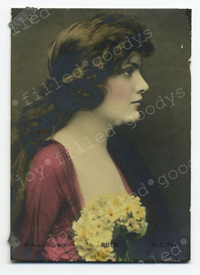 VERY BEAUTIFUL WOMAN 1900s HAND COLORED SMALL GELATIN SILVER PHOTO