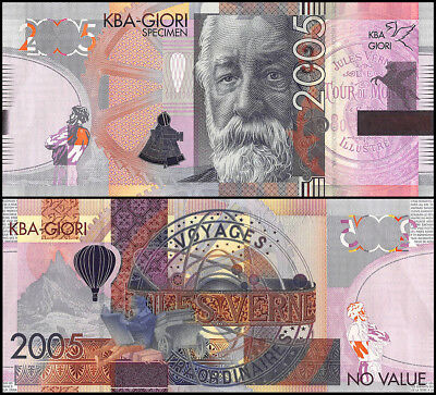 KBA Giori Jules Verne, 2005, UNC, Specimen, Test Note, Hot Air Balloon