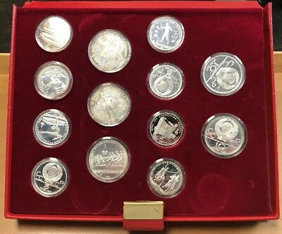 1977-80 USSR Olympic Commemorative Set Of 28 Silver Proof Coins