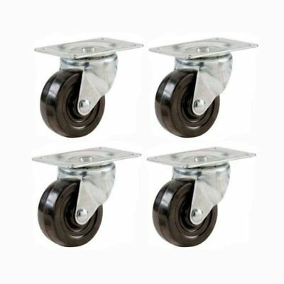 """4 Packs of 2"""" Swivel Caster Wheels Hard Rubber Base with Top Plate & Bearing"""