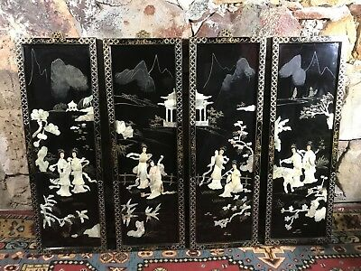 4 x Vintage Oriental Mother of Pearl Inlaid Panels~Chinese