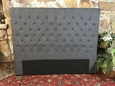 Hampshire Linen Chesterfield Studded Queen Size Bedhead~Bed Head