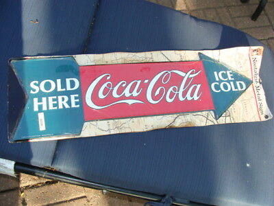 "Vintage 1990 Tin ""Sold Here Coca-Cola Ice Cold"" Arrow Design Advertising Sign"