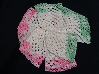 New 8 Vintage crocheted Glass Cozies Coasters Hand Made Chic Farm House