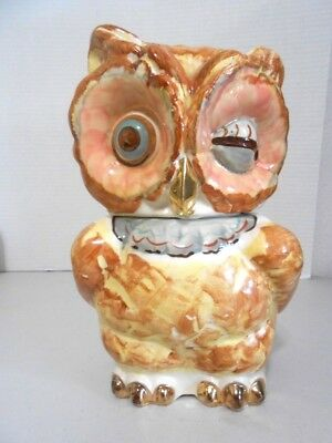 Vintage Shawnee USA Winking Owl Cookie Jar with Gold Trim