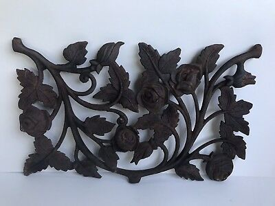 Vintage Architectural Salvage Decorative Cast Iron Ornate Roses Garden 14""