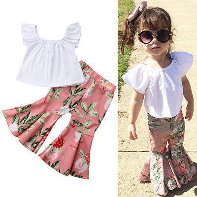 US STOCK Baby Girl Kids Summer Toddler Outfits Clothes T-shirt Tops+Long Pants