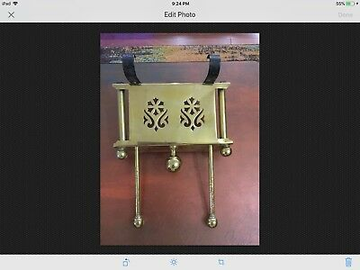 Antique Brass & Iron Fireplace Hearth Plate Wormer Pull Out Trivet