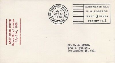 LAST DAY OF 3c FIRST CLASS POSTAL RATE 1958 - Meisel