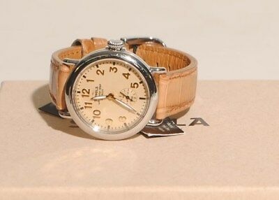 Shinola Runwell Subsecond 36mm Watch Gold Face Natural Alligator Strap NEW $750