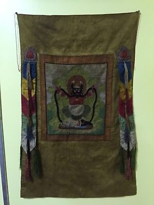 Mongolian Buddhist Old Thangka TEXTILE 19 century- 20th cent