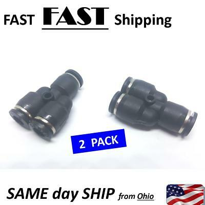 "2 PACK 1/4"" ""T"" fitting pneumatic air line push connector - 0.25"" T part fitting"